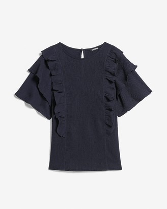Express Textured Double Ruffle Top