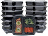 Freshware Large Three-Section Bento Food Container - Set of 15