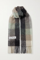 Thumbnail for your product : Acne Studios Fringed Checked Knitted Scarf - Gray