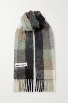 Acne Studios Fringed Checked Knitted Scarf - Gray