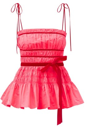 Molly Goddard Cressie Velour-ribbon And Shirred-taffeta Top - Pink