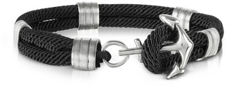 Forzieri Black Nautical Rope Double Bracelet w/Anchor