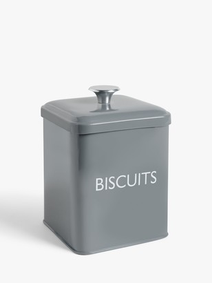 John Lewis & Partners Classic Enamel Biscuit Tin, Slate