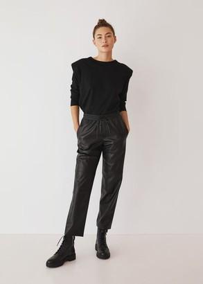 MANGO Leather-effect elastic waist trousers