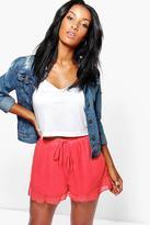 Boohoo Melanie Woven Ruffle Hem Shorts