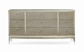 Caracole Classic Champagne Shimmer 9 Drawer Dresser with Mirror