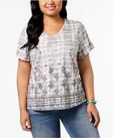Style&Co. Style & Co Plus Size Cotton Mixed-Print T-Shirt, Created for Macy's