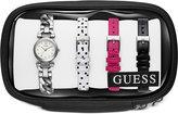 GUESS Women's Stainless Steel Bracelet Watch & 3 Interchangeable Straps Set 22mm U0712L1