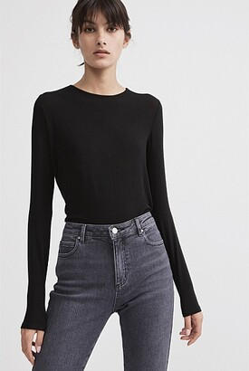 Witchery Rib Long Sleeve Crew Neck Tee