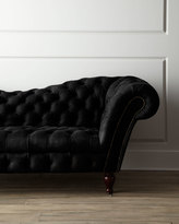 Horchow Black Leather Recamier Sofa