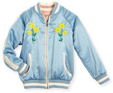 Stella McCartney Willow Reversible Embroidered Satin Bomber Jacket, Blue, Size 4-14