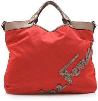 Salvatore Ferragamo Red Fabric Logo Shopper
