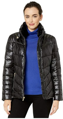 Via Spiga Shine Packable Puffer with Faux Fur Detachable Collar and Zip Hidden Hood (Black) Women's Clothing