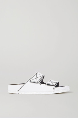 Proenza Schouler + Birkenstock Arizona Topstitched Glossed-leather Sandals - White