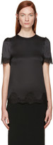 Dolce & Gabbana Black Silk Lace Trim Blouse