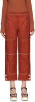 Stella McCartney Red Buttoned Cuff Stitching Trousers