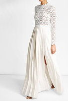 Self-Portrait Pleated Maxi Dress with Lace