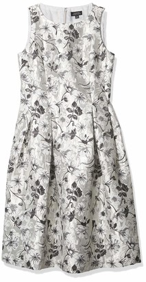 Tahari ASL Women's Sleeveless Silver Floral Fit and Flare Dress 6
