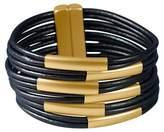 Zirconite Women's Multi - Strand Genuine Leather Cuff Bracelet with Gold Tube Bars