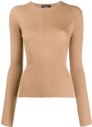 Theory round neck ribbed knit sweater