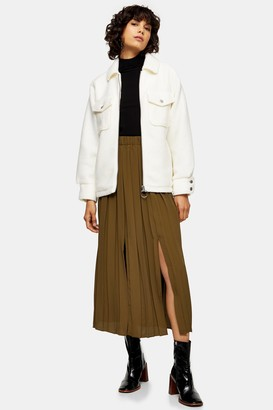 Topshop Womens Khaki Pleated Midi Skirt - Khaki