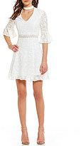 Lucy Paris Bell Sleeve Embroidered Mockneck Dress