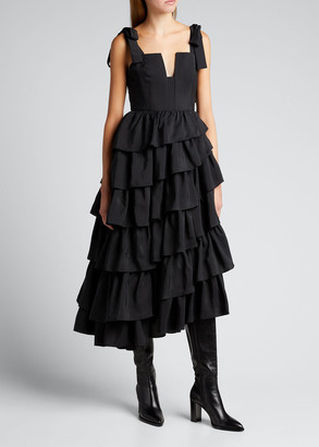 Ulla Johnson Valentina Silk Ruffle Tier Gown
