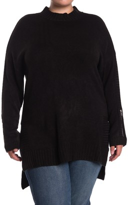 One A Mock Neck Dolman High/Low Tunic Sweater (Plus Size)