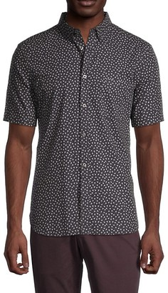 French Connection Printed Short-Sleeve Button Down Shirt