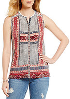 Lucky Brand Sleeveless Border Print Button-Down Knit Top