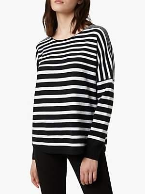 French Connection Drop Shoulder Stripe Jumper, Black/Winter White