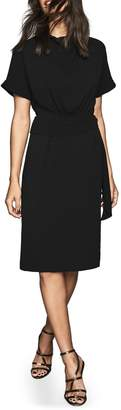 Reiss Lola Cowl Neck Tie Belt Dress