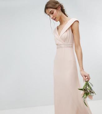 Bardot Tfnc Tall TFNC Tall Maxi Bridesmaid Dress With Fishtail and Embellished Waist