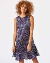 Jigsaw Floral Contours Ruffle Dress