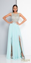 Terani Couture Beaded Low Back Double Thigh Slit Evening Dress