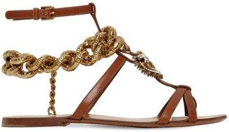 Dolce & Gabbana 10MM CHAIN & LEATHER THONG SANDALS
