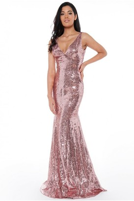 Goddiva Sequined Low V Neck Maxi Dress - Rose