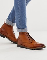 Rafferty toe cap boots in tan