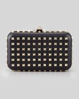 Valentino Rockstud Leather Minaudiere Clutch Bag, Black