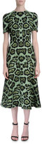 Givenchy Short-Sleeve Jaguar-Print Dress, Green