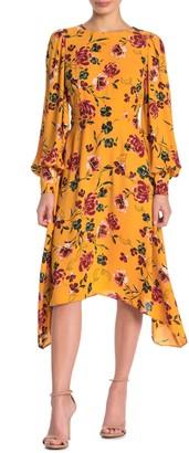 Donna Morgan Floral Long Sleeve Sharkbite Midi Dress (Petite)