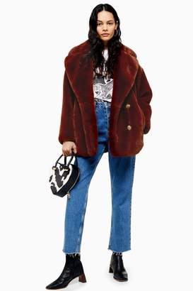 Topshop Womens Tall Velvet Faux Fur Coat - Tobacco