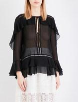 Alberta Ferretti Sheer ruffle-detail silk blouse