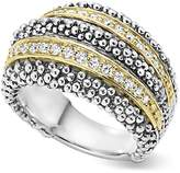 Lagos Sterling Silver and 18K Gold Diamond Caviar Ring