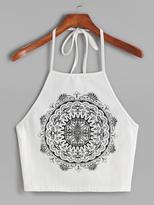 Shein Mandala Print Crop Halter Top