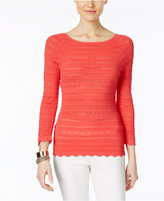 INC International Concepts Petite Mixed-Stitch Sweater, Only at Macy's
