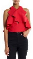KENDALL + KYLIE Women's Overlap Ruffle Crop Top