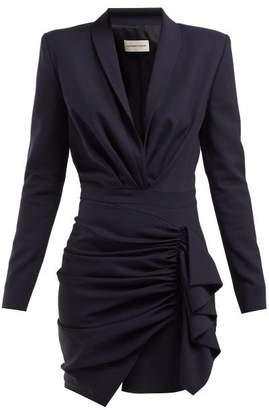 Alexandre Vauthier Draped Wool-blend Twill Mini Dress - Womens - Blue Multi