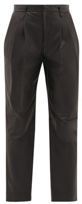 RED Valentino High-rise Leather Trousers - Womens - Black