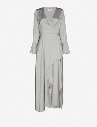 Designers Remix Kacy wrap-over recycled-polyester midi dress